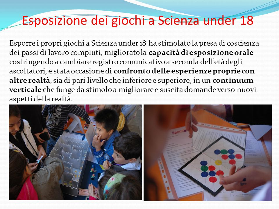 Esposizione dei giochi a Scienza under 18