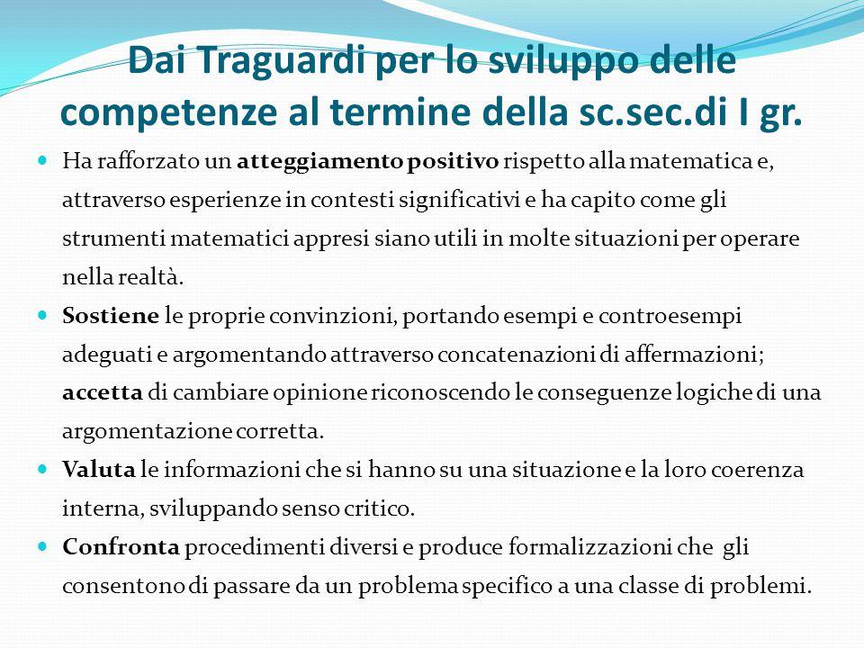 Dai Traguardi per lo sviluppo delle competenze al termine della sc.sec.di I gr.