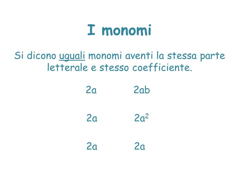 I monomi Si dicono uguali monomi aventi la stessa parte letterale e stesso coefficiente. 2a 2ab. 2a 2a2.