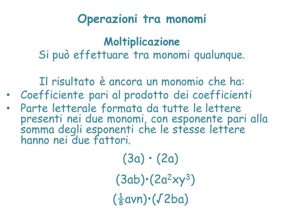 Operazioni tra monomi (3a) • (2a) (3ab)•(2a2xy3) (⅛avn)•(√2ba)