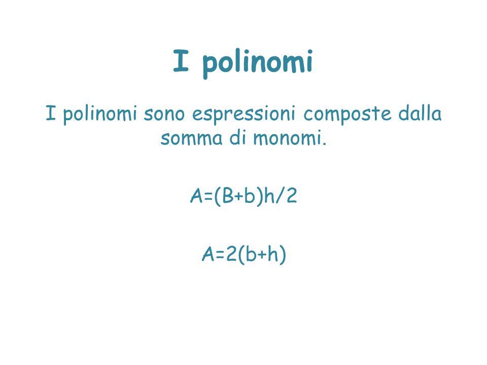 I polinomi sono espressioni composte dalla somma di monomi.