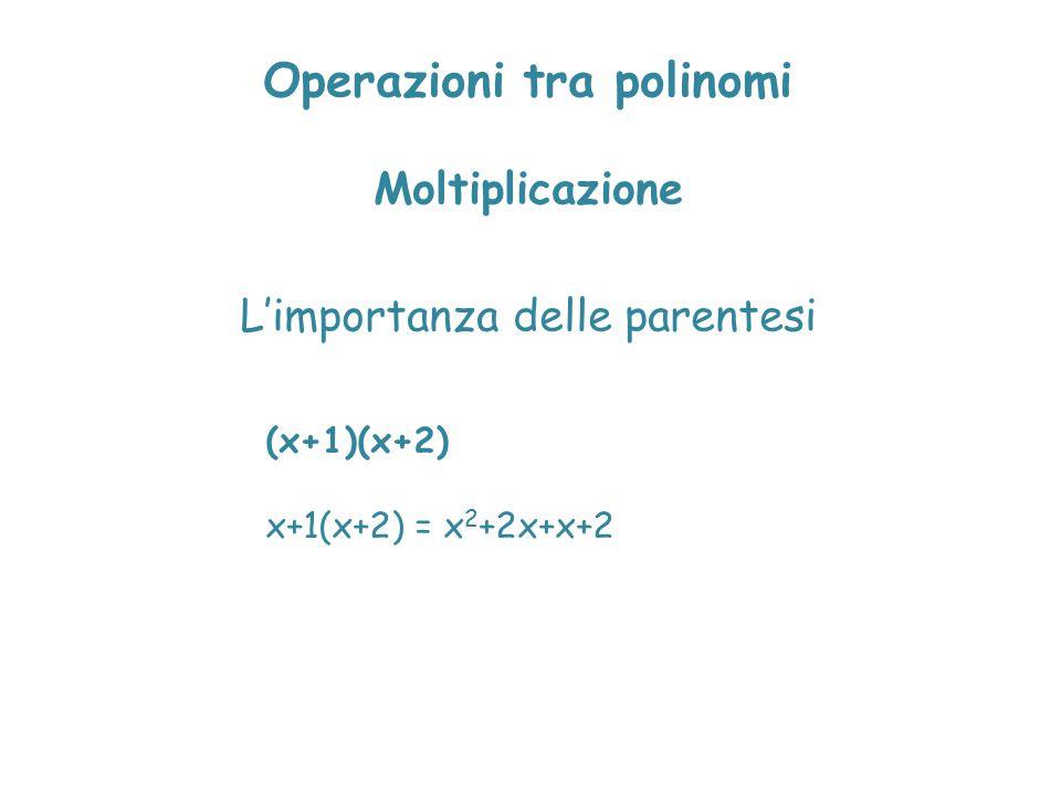 Operazioni tra polinomi Moltiplicazione L'importanza delle parentesi