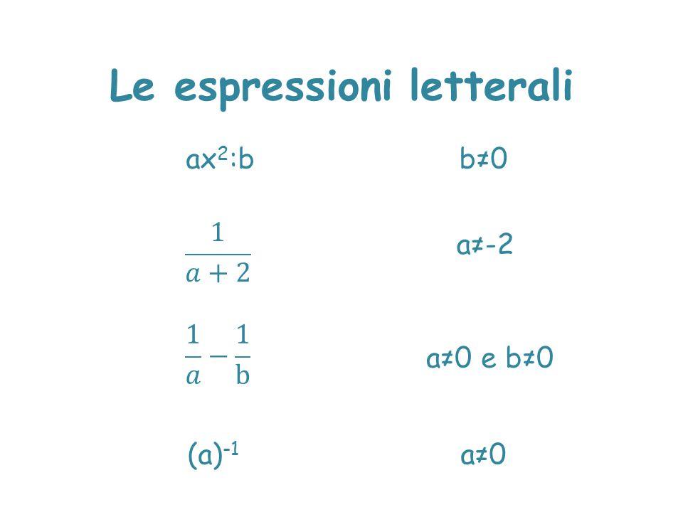 Le espressioni letterali