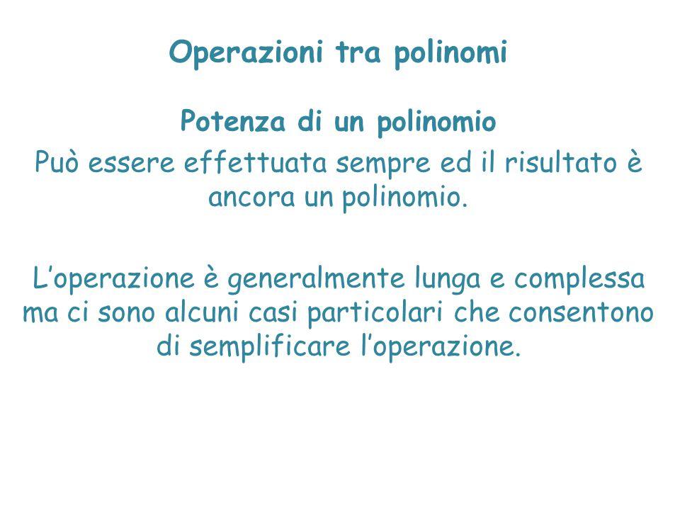 Operazioni tra polinomi Potenza di un polinomio