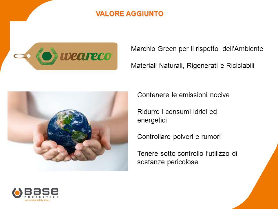 VALORE AGGIUNTO Marchio Green per il rispetto dell'Ambiente. Materiali Naturali, Rigenerati e Riciclabili.