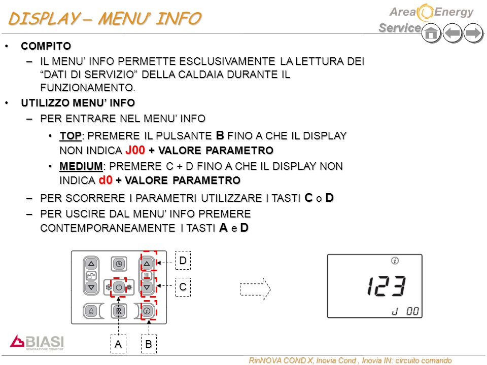 DISPLAY – MENU' INFO COMPITO