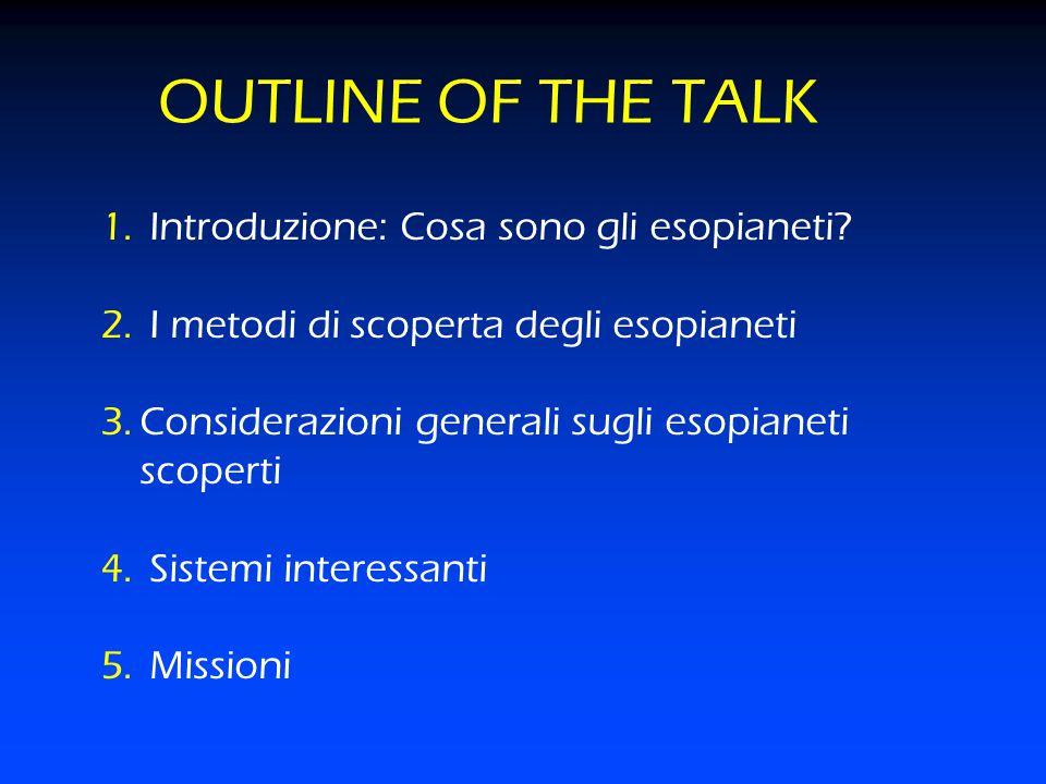 OUTLINE OF THE TALK Introduzione: Cosa sono gli esopianeti
