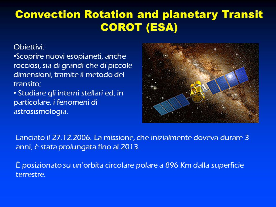 Convection Rotation and planetary Transit COROT (ESA)