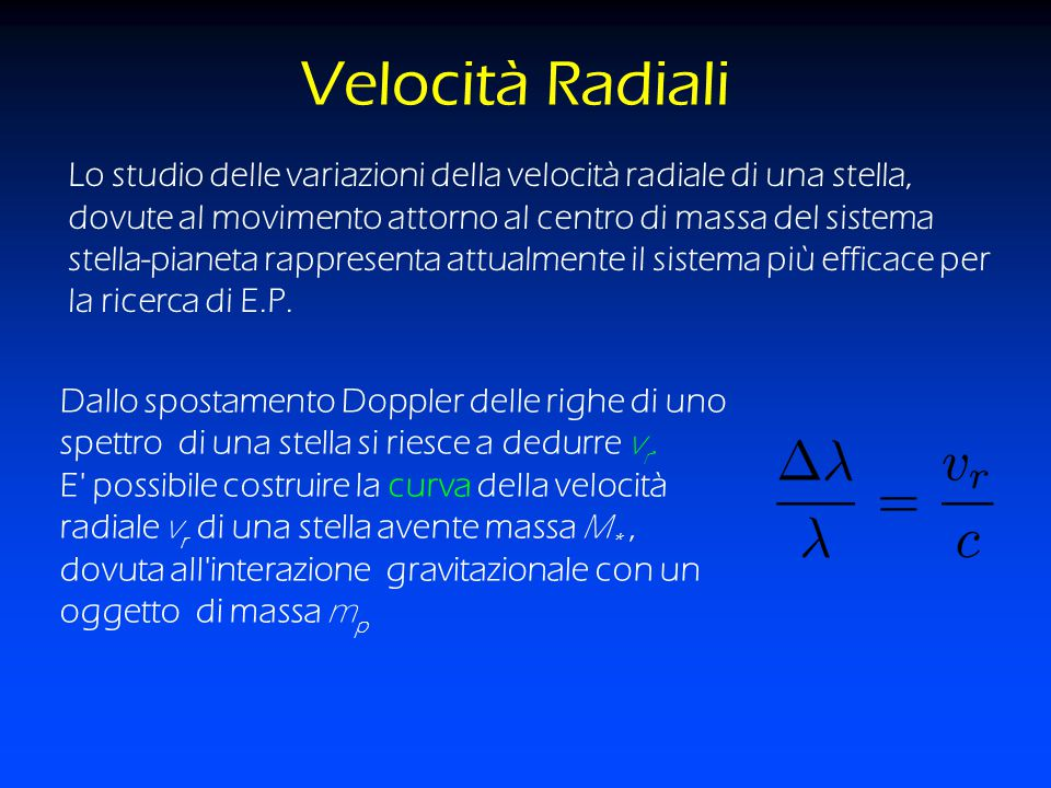 Velocità Radiali