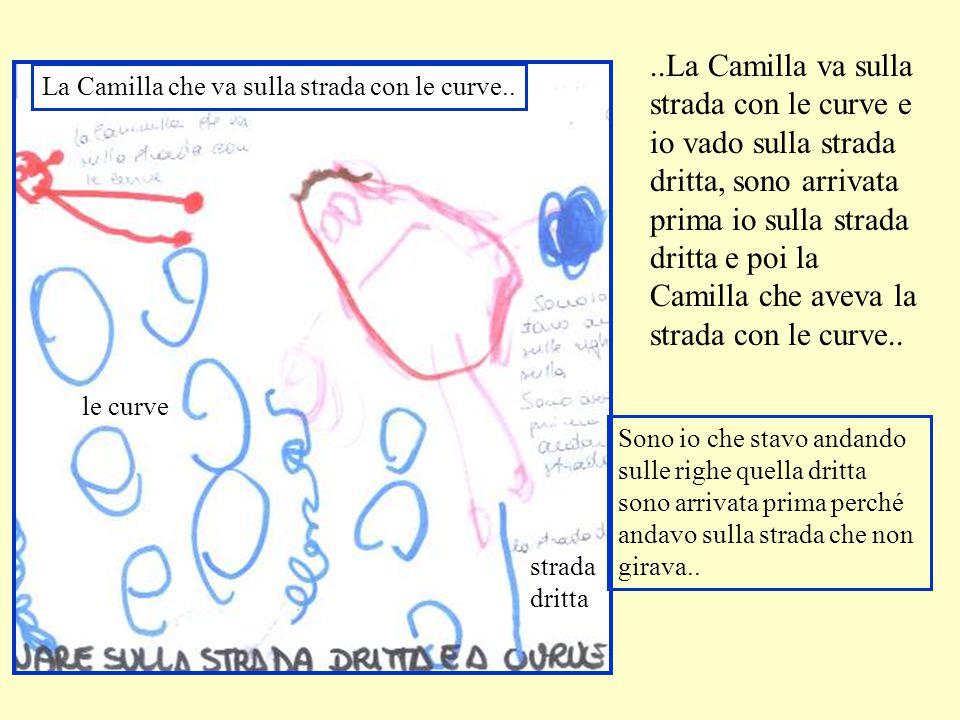 ..La Camilla va sulla strada con le curve e io vado sulla strada dritta, sono arrivata prima io sulla strada dritta e poi la Camilla che aveva la strada con le curve..