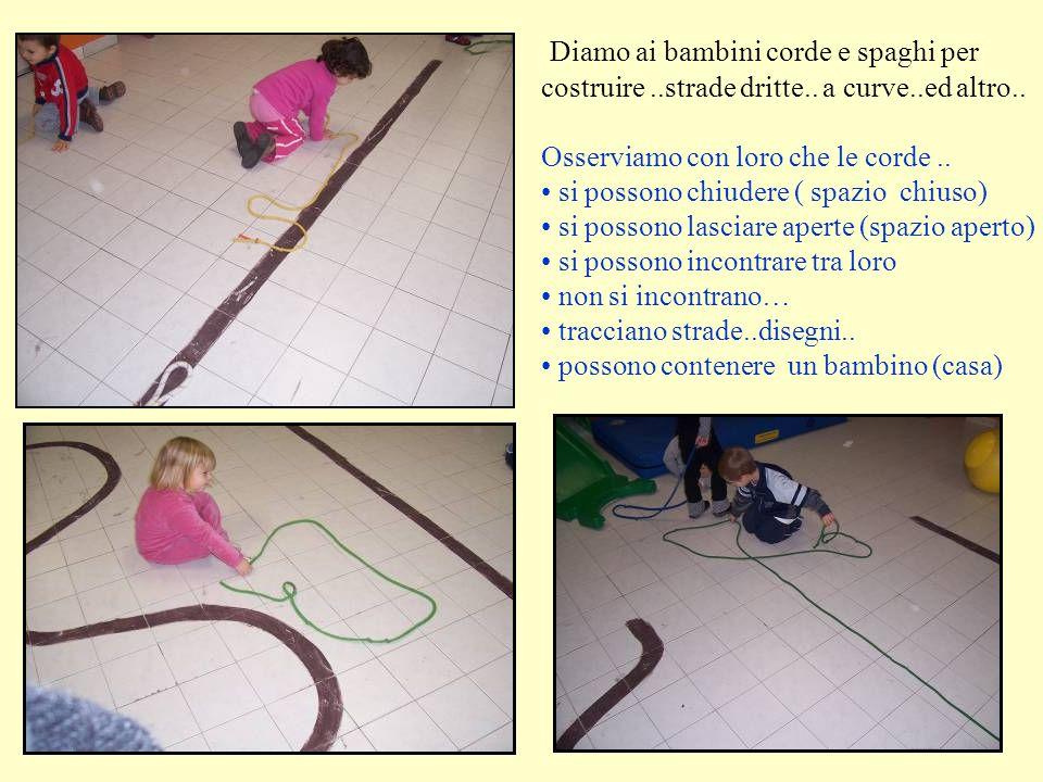 Diamo ai bambini corde e spaghi per costruire. strade dritte. a curve