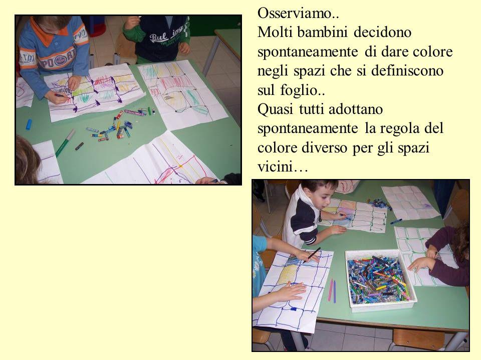 Osserviamo.. Molti bambini decidono. spontaneamente di dare colore negli spazi che si definiscono sul foglio..