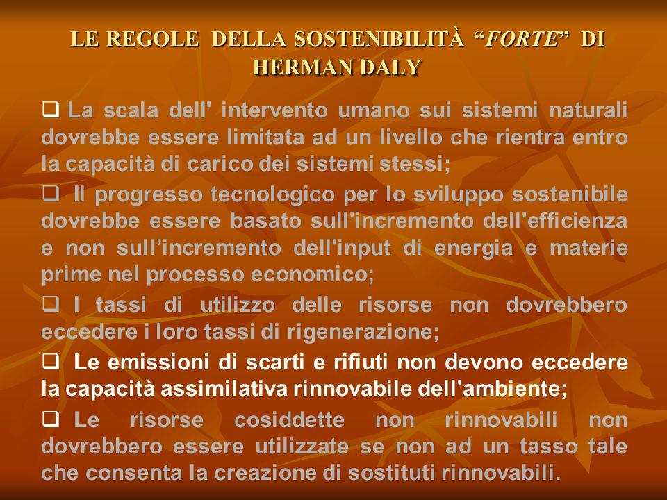 LE REGOLE DELLA SOSTENIBILITÀ FORTE DI HERMAN DALY
