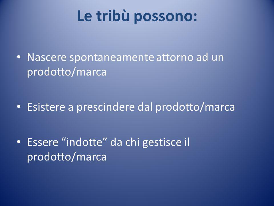 Le tribù possono: Nascere spontaneamente attorno ad un prodotto/marca