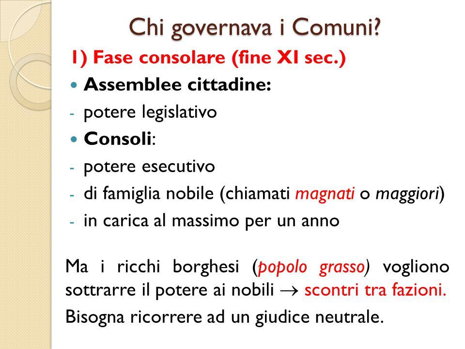 Chi governava i Comuni 1) Fase consolare (fine XI sec.)