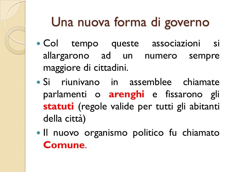 Una nuova forma di governo