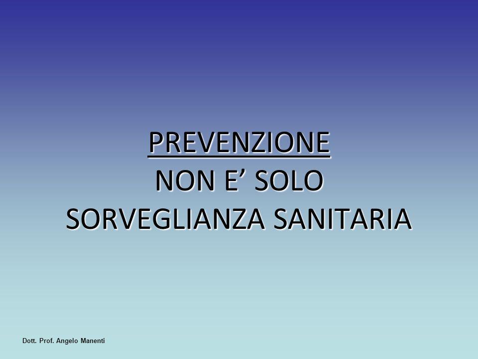 PREVENZIONE NON E' SOLO SORVEGLIANZA SANITARIA