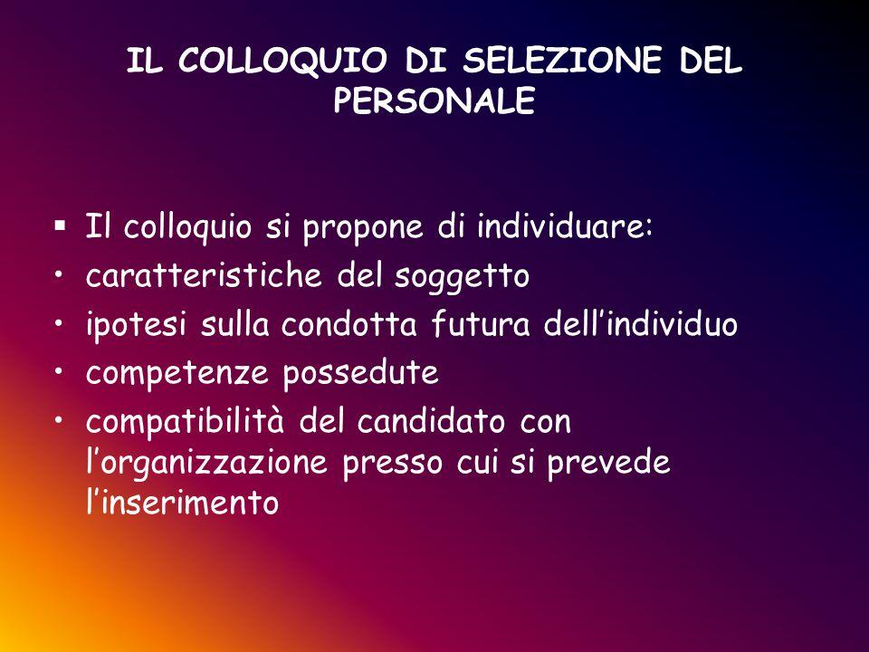 IL COLLOQUIO DI SELEZIONE DEL PERSONALE