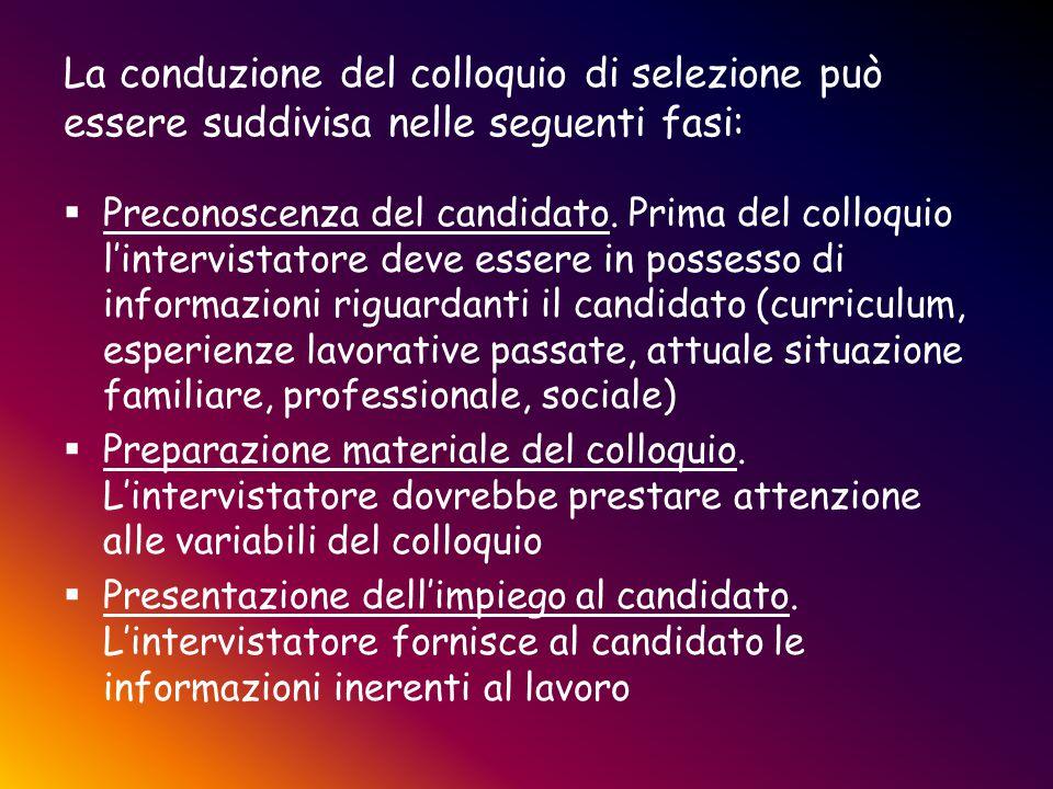 La conduzione del colloquio di selezione può essere suddivisa nelle seguenti fasi: