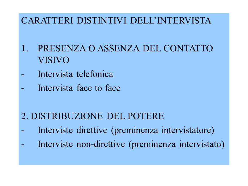 CARATTERI DISTINTIVI DELL'INTERVISTA