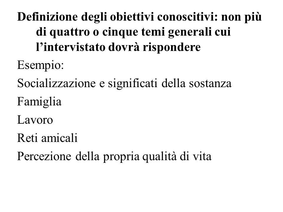 Definizione degli obiettivi conoscitivi: non più di quattro o cinque temi generali cui l'intervistato dovrà rispondere