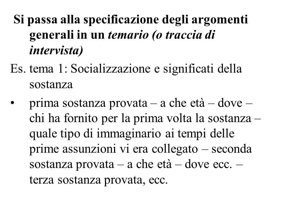 Si passa alla specificazione degli argomenti generali in un temario (o traccia di intervista)