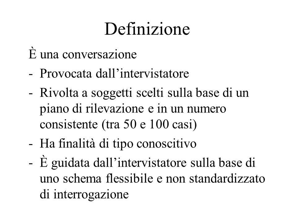Definizione È una conversazione Provocata dall'intervistatore