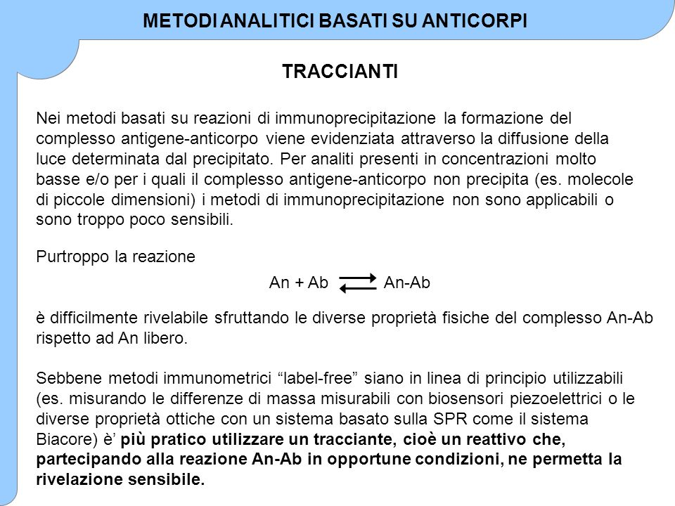 METODI ANALITICI BASATI SU ANTICORPI