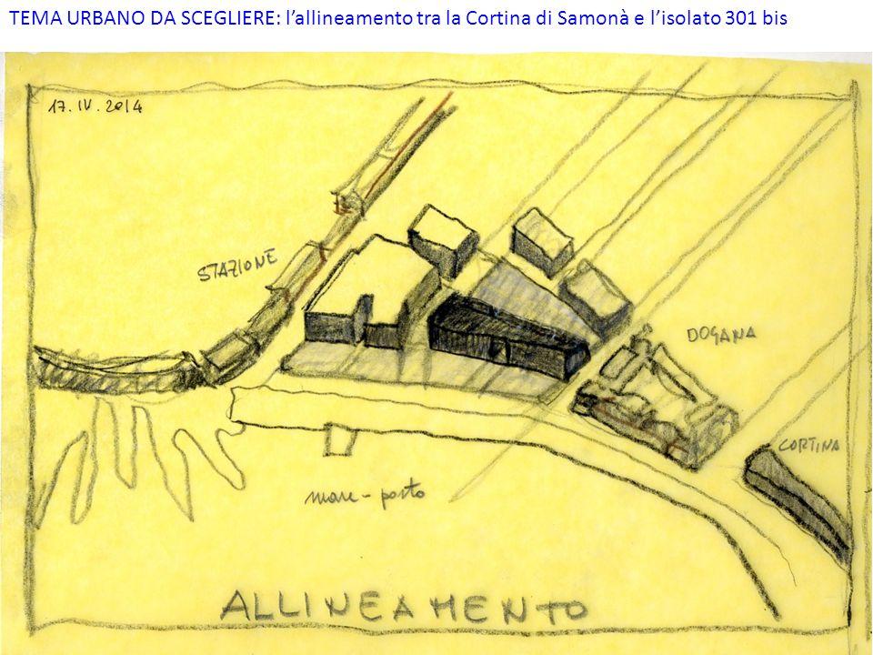 TEMA URBANO DA SCEGLIERE: l'allineamento tra la Cortina di Samonà e l'isolato 301 bis