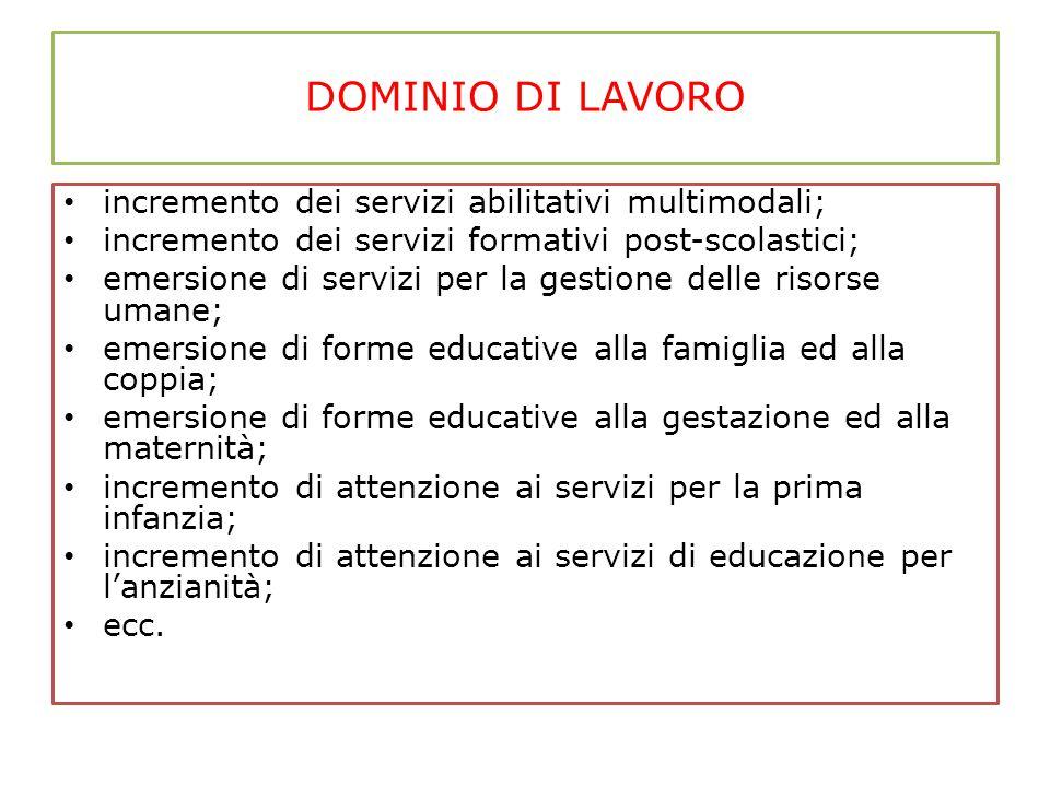 DOMINIO DI LAVORO incremento dei servizi abilitativi multimodali;