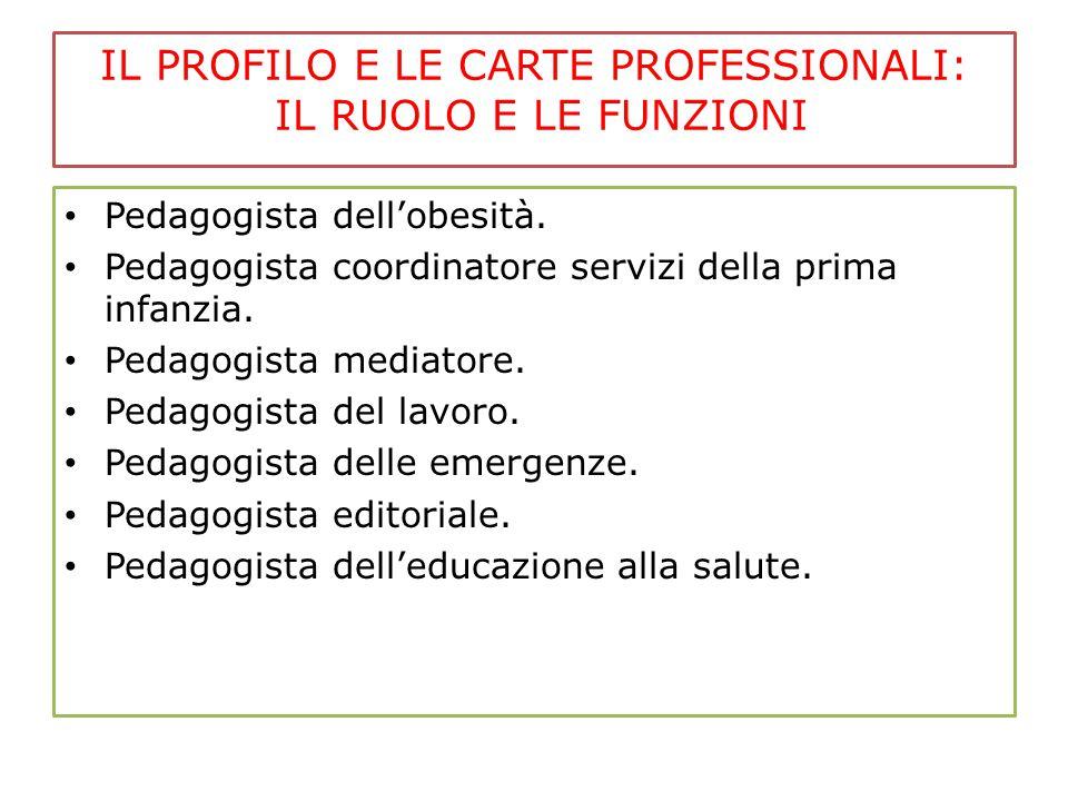 IL PROFILO E LE CARTE PROFESSIONALI: IL RUOLO E LE FUNZIONI