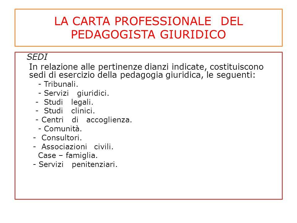 LA CARTA PROFESSIONALE DEL PEDAGOGISTA GIURIDICO