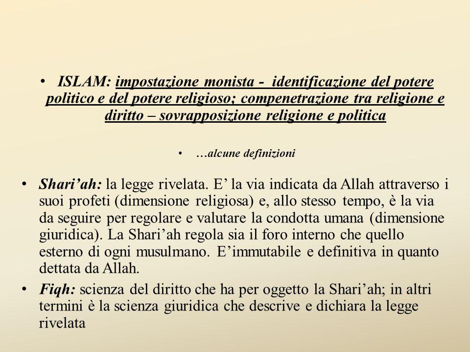 ISLAM: impostazione monista - identificazione del potere politico e del potere religioso; compenetrazione tra religione e diritto – sovrapposizione religione e politica