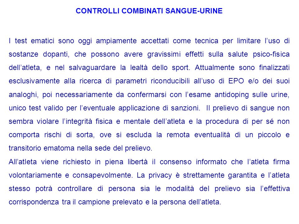 CONTROLLI COMBINATI SANGUE-URINE
