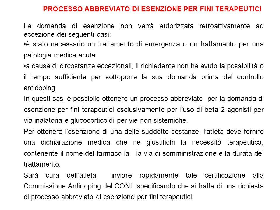 PROCESSO ABBREVIATO DI ESENZIONE PER FINI TERAPEUTICI