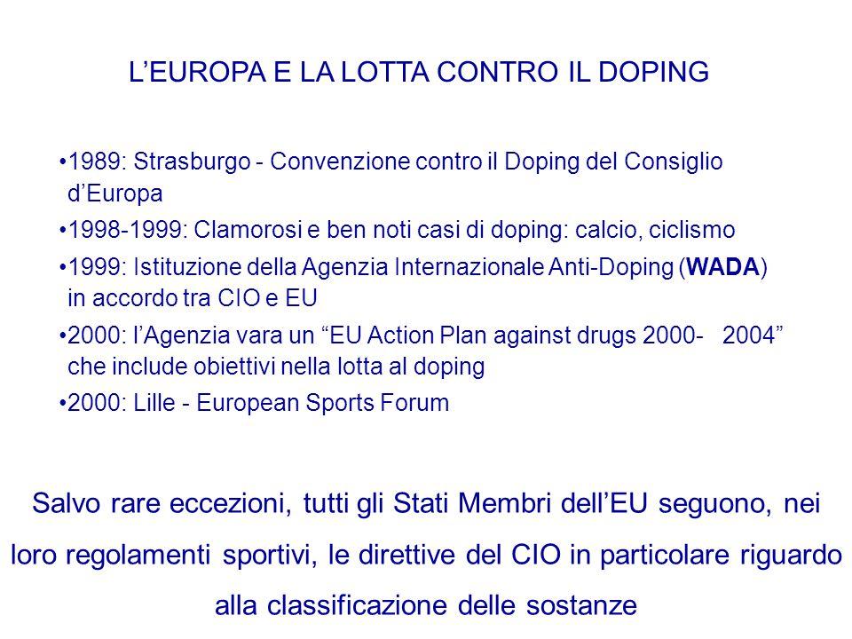 L'EUROPA E LA LOTTA CONTRO IL DOPING