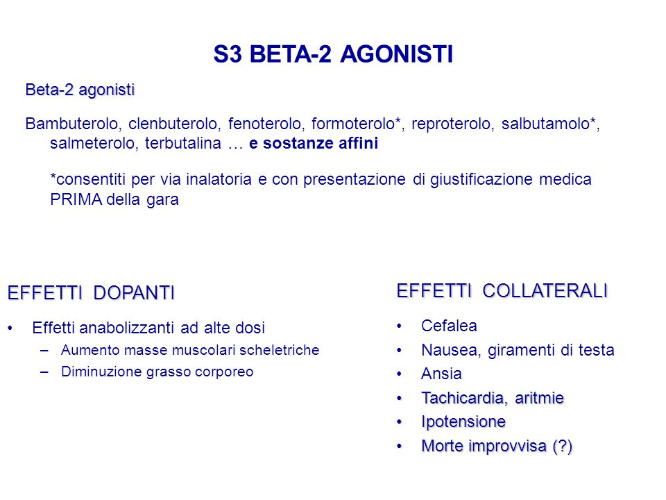 S3 BETA-2 AGONISTI EFFETTI DOPANTI EFFETTI COLLATERALI Beta-2 agonisti