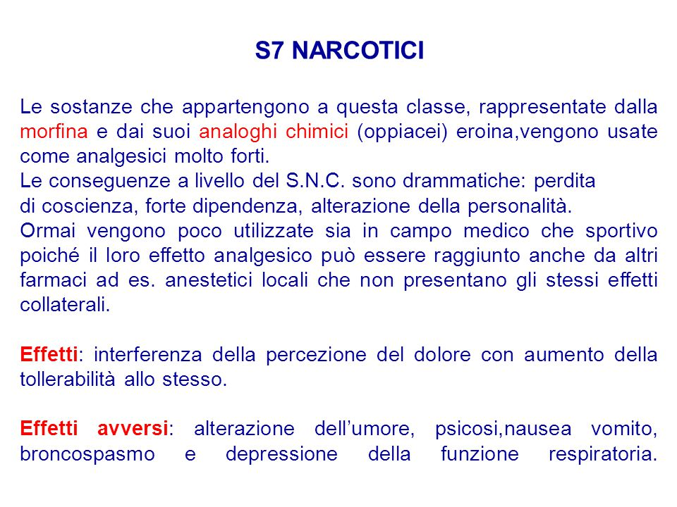 S7 NARCOTICI