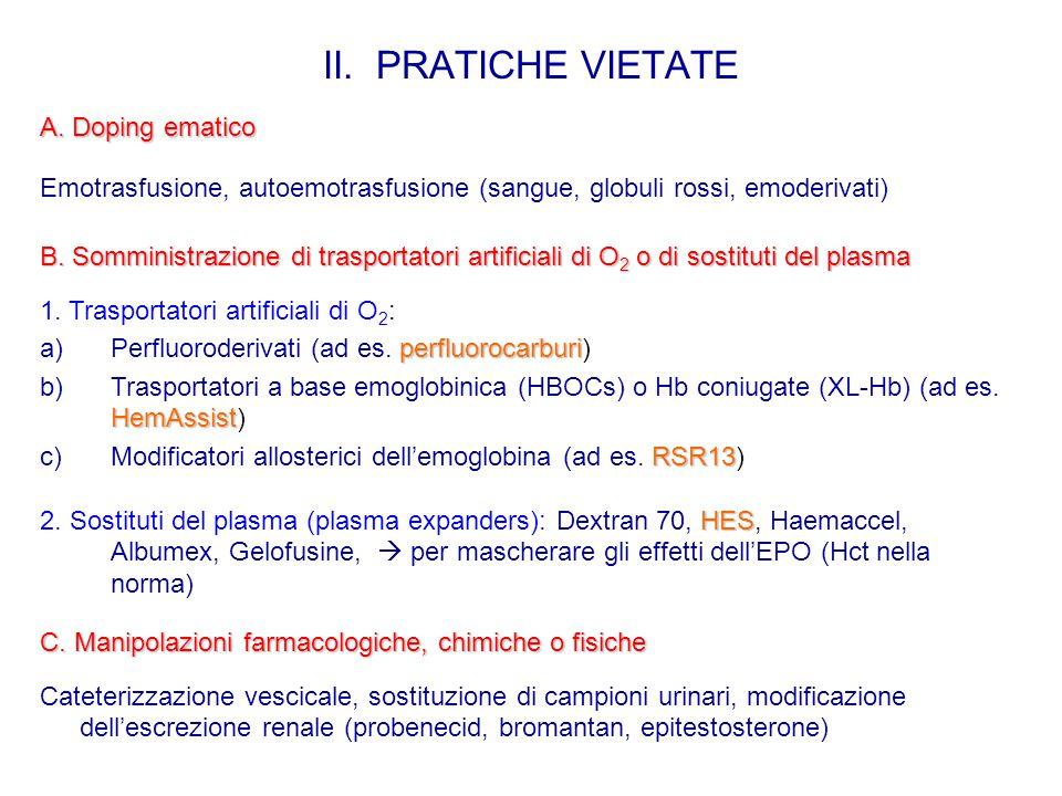 II. PRATICHE VIETATE A. Doping ematico
