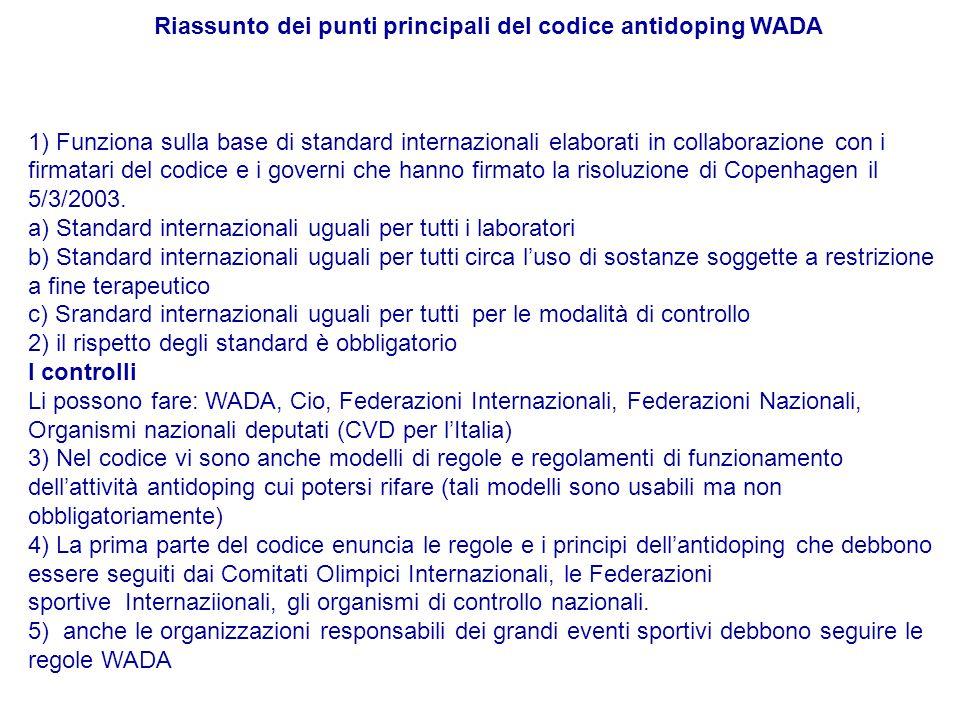 Riassunto dei punti principali del codice antidoping WADA