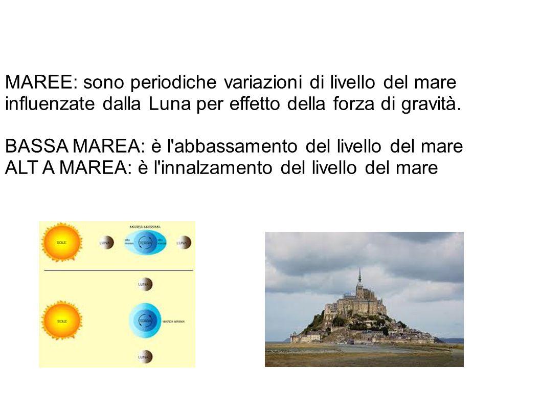 MAREE: sono periodiche variazioni di livello del mare