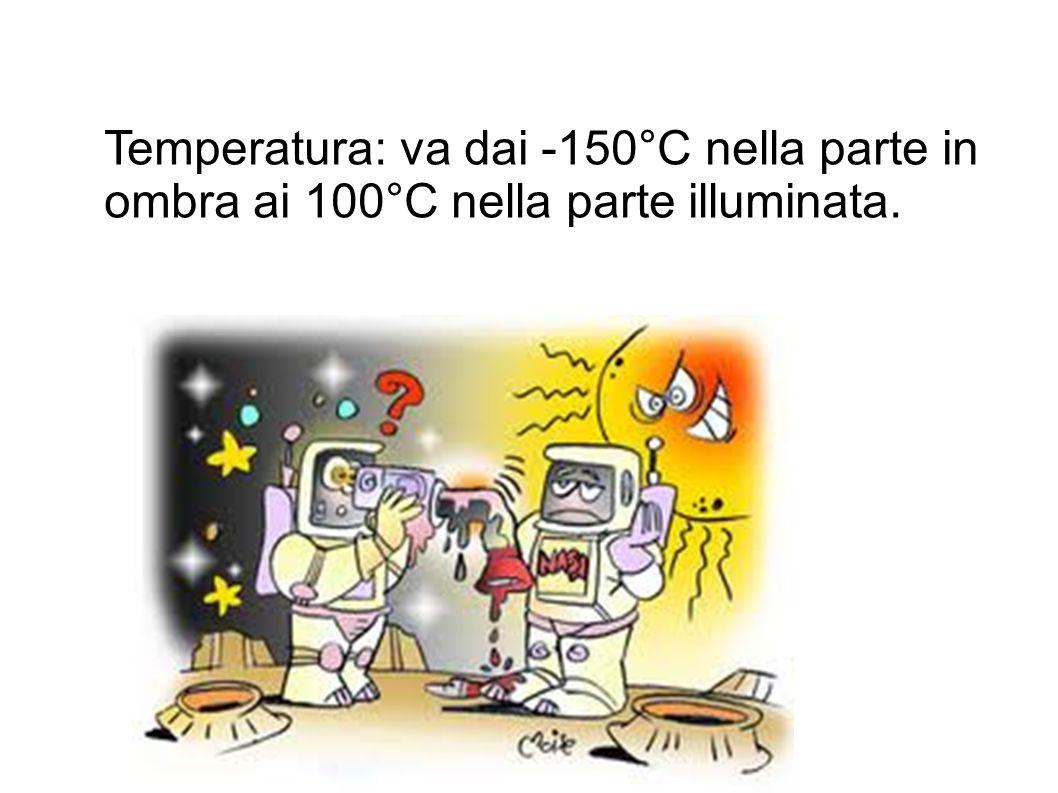 Temperatura: va dai -150°C nella parte in ombra ai 100°C nella parte illuminata.