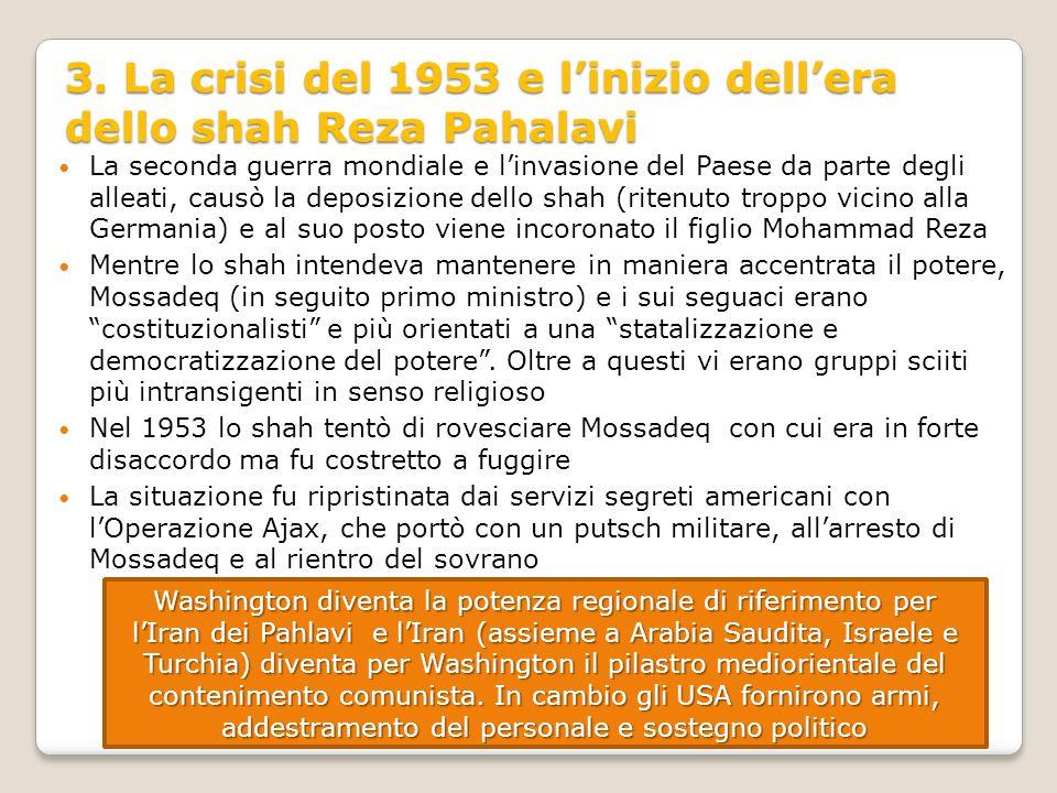 3. La crisi del 1953 e l'inizio dell'era dello shah Reza Pahalavi