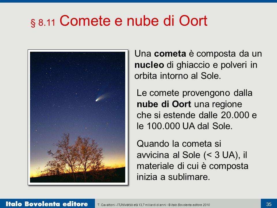 § 8.11 Comete e nube di Oort Una cometa è composta da un nucleo di ghiaccio e polveri in orbita intorno al Sole.