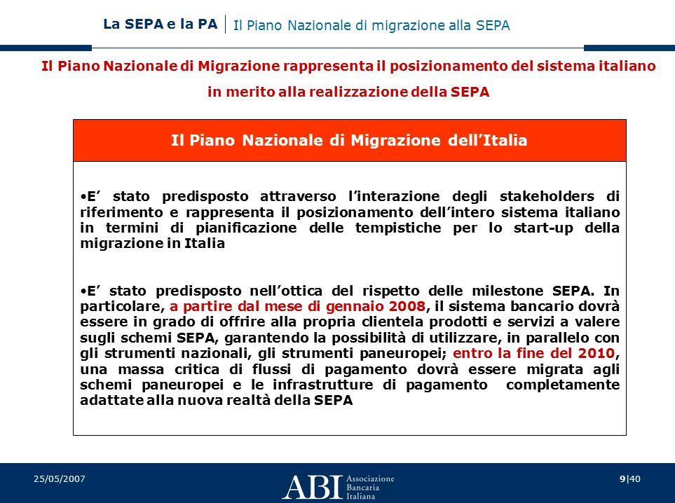 Il Piano Nazionale di Migrazione dell'Italia