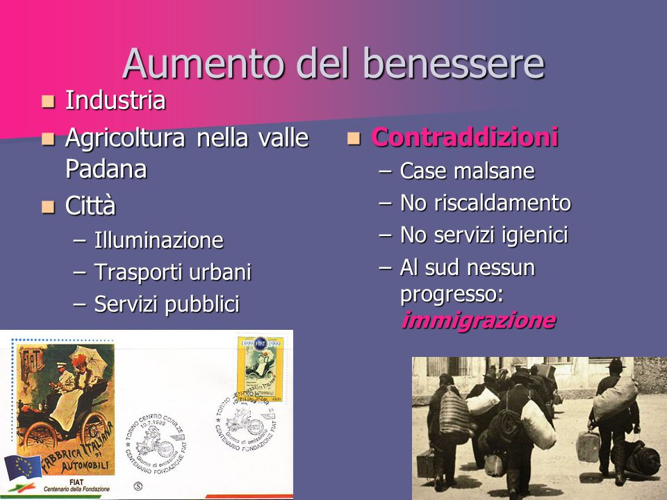 Aumento del benessere Industria Agricoltura nella valle Padana