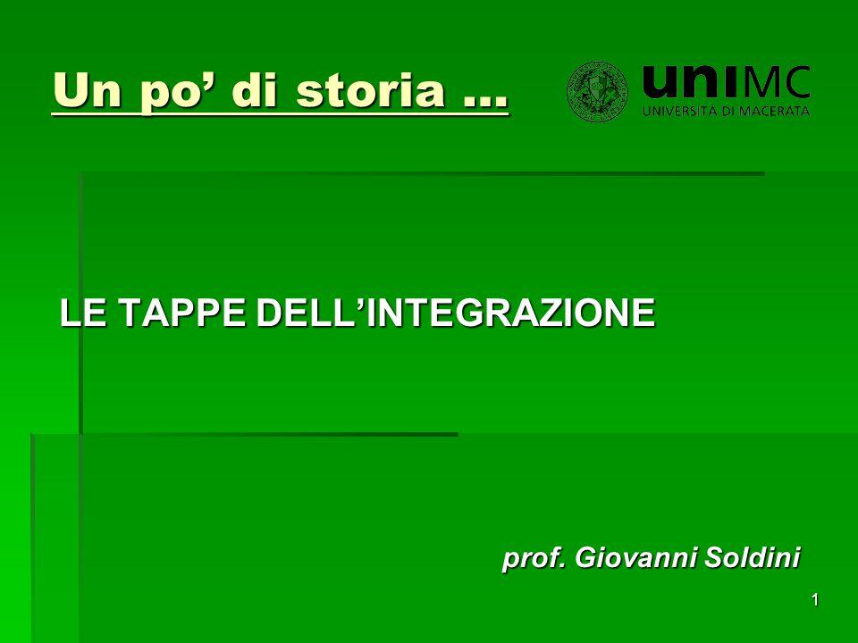 Un po' di storia … LE TAPPE DELL'INTEGRAZIONE prof. Giovanni Soldini