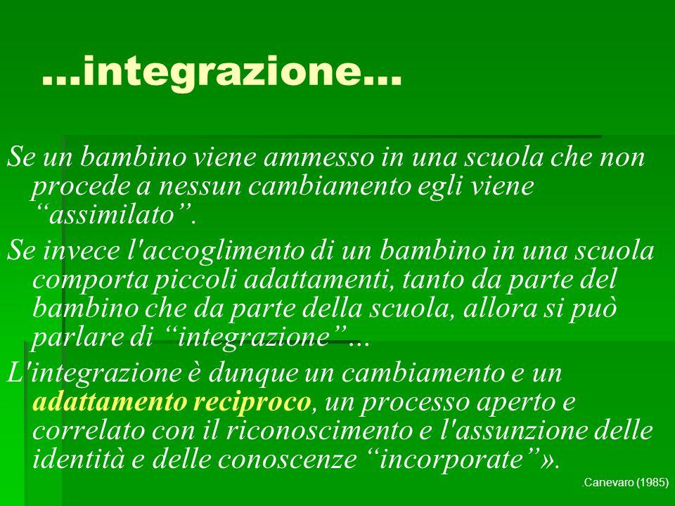 …integrazione… Se un bambino viene ammesso in una scuola che non procede a nessun cambiamento egli viene assimilato .