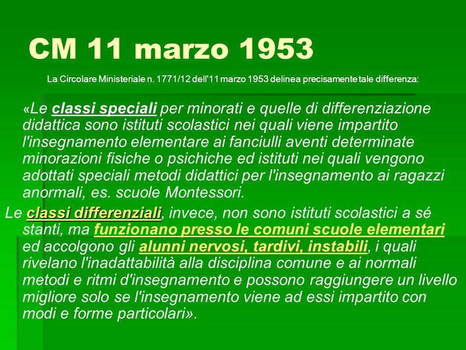CM 11 marzo 1953 La Circolare Ministeriale n. 1771/12 dell 11 marzo 1953 delinea precisamente tale differenza: