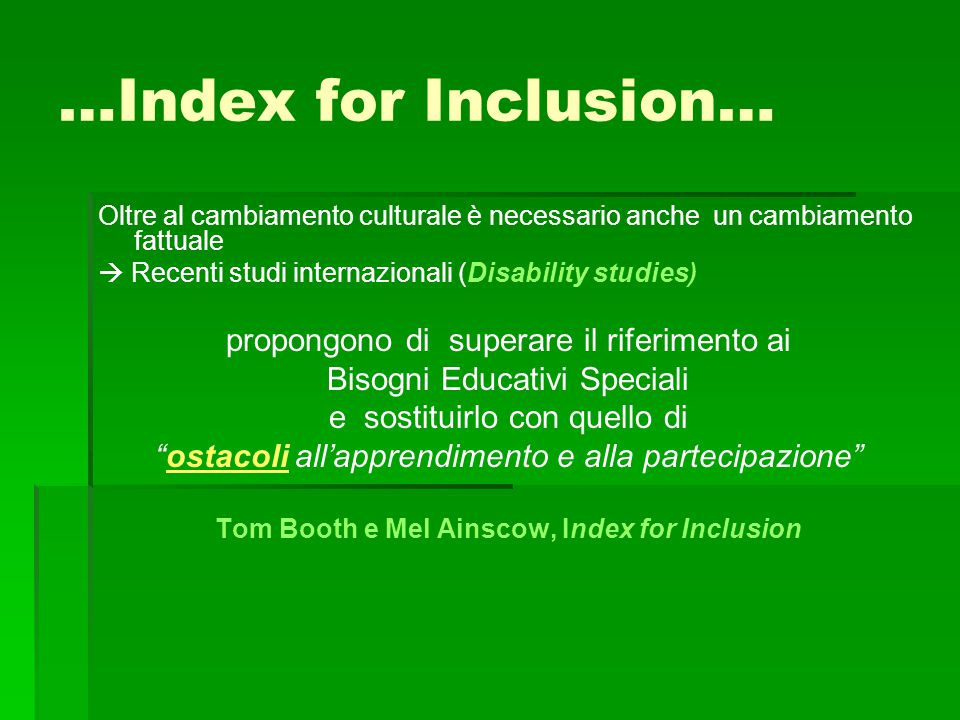 Tom Booth e Mel Ainscow, Index for Inclusion